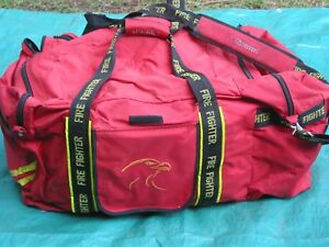 Used Red Firefighter Turnout Bag