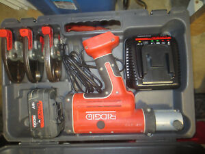Ridgid Propress Rp 210 4 0 Battery Good Condition New Charger Case 3 Jaws