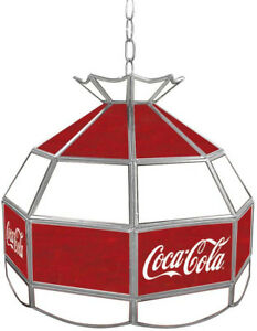 Billiard Hanging Tiffany Light Trademark Global Coca Cola 16 in. Stained Glass