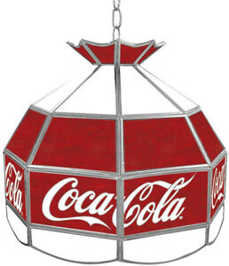 Coca Cola 16 in. Stained Glass Billiard Hanging Tiffany Light Trademark Global