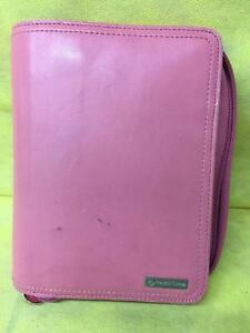 Franklin Covey Zip Pink Full Grain Leather Organizer Binder 6 Ring 8 In X 6 In
