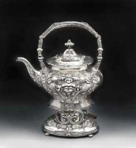Beautiful Antique Repousse Sterling Silver Gorham Tea Kettle On Stand