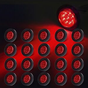 20x 2 Round Red Clearence Side Marker Light Trailer Truck Rv Sealed Light 12v