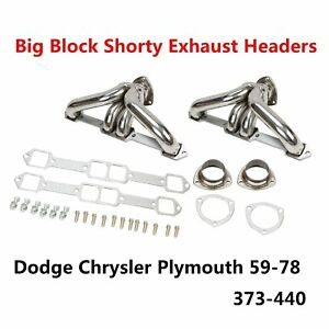 Shorty Exhaust Headers Fits Dodge Chrysler Plymouth Big Block 1959 1978 373 440