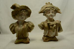 Pair Of Ceramic Colonial Victorian Man Woman Bust Figurines
