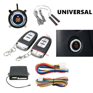 Functional Alarm System Passive Keyless Entry Push Button Remote Engine On off