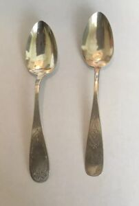 2 H V A S Antique New England Coin Silver Sterling Serving Spoons