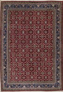 Top Quality Hand Knotted All Over Floral 10x14 Maroon Wool Agra Oriental Rug