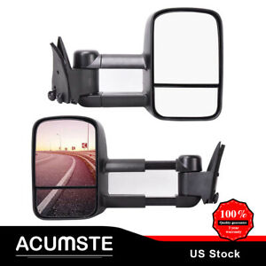 Pair Left right For 88 98 Chevy gmc C10 C k 1500 Pickup Truck Power Tow Mirrors