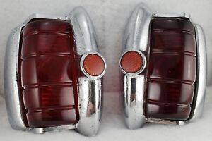 Antique vtg 1940 s Plymouth Tail Lights original Glass Lens rat Rod hot Rod