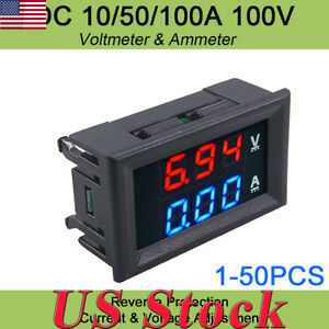 Digital Red Led Voltage Meter Dc 100v 10a Voltmeter Ammeter Blue red Led Dual