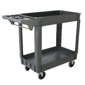 2 Tier Plastic Utility Service Cart 550 Pounds Capacity