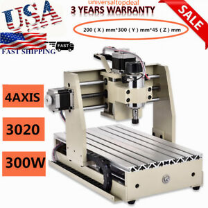 Ups 4 Axis 3020 Cnc Router Engraver Milling Machine Carving Drilling 300w Us Hot