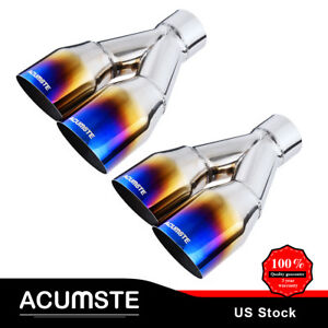 2x Blue Burnt Single Layer Slant Exhaust Tip Polished Stainless 2 5 in 3 5 out