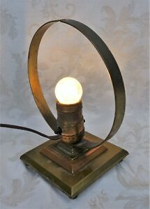 Vintage Mid Century Atomic Space Age Art Deco Brass Table Lamp Working