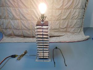 Mid Century Clear Black Stacked 28 Lucite Acrylic Table Lamp No Shade