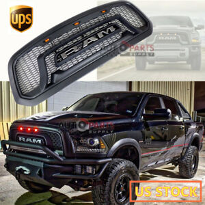 For 2013 2018 Dodge Ram 1500 Rebel Style Matte Black Grille Grill Mesh W Led A6