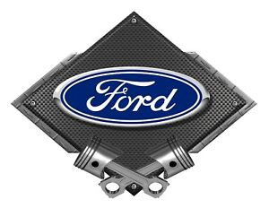 Ford Blue Oval Black Carbon Diamond Metal Art Wall Sign Ford Licensed