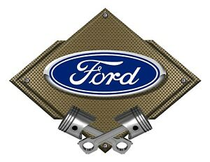 Ford Blue Oval Bronze Carbon Diamond Metal Art Wall Sign Ford Licensed