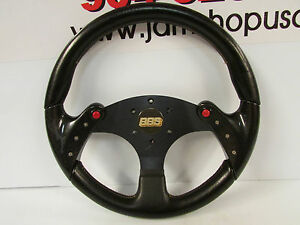 Jdm Black Cf Style 3 Spoke Steering Wheel 345mm 6 Hole Horn Buttons