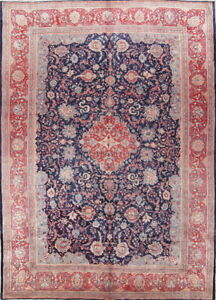 Antique Alluring Decorativeb Floral 10x14 Wool Sarouk Oriental Area Rug