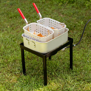 18 Qt Liquid Propane Outdoor Dual Basket Chicken Fish Deep Fryer Cooking Kit