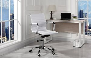 Modern Faux Leather Fabric Office Chair Mid Back Ergonomic Swivel Chair White