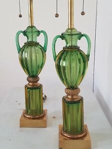 Exquisite Pair Seguso Murano Marbro Lamps Mid Century Modern Hollywood Regency
