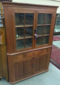 Antique American Cherry Corner Cupboard Cabinet Mid 1800 S 54w31d75h