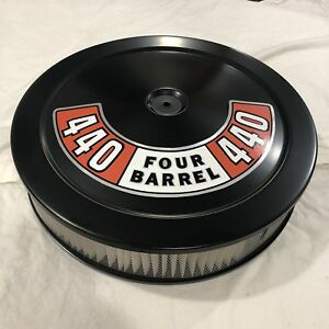 Mopar Black Air Cleaner White Filter 440 Plymouth 4 Bbl Carb New 14 Dodge
