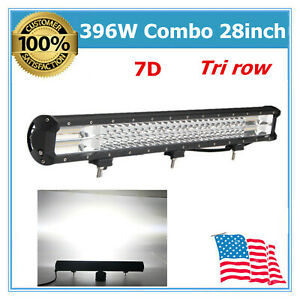 396w 28 inch Led Light Bar For 7d Tri row Driving Fog Off Road Truck Suv Jeep
