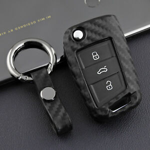 Matt Carbon Fiber Car Folding Key Holder For Volkswagen Mk6 Tiguan Polo Golf Gti