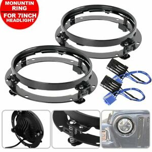2x 7inch Round Daymaker Led Headlight Mounting Bracket Ring For Jeep Wrangler Tj