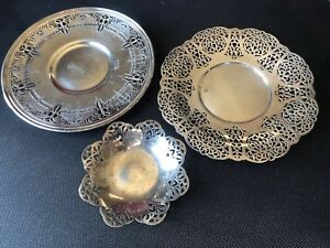 Silver Plate Lot Of 3 Ornate Benedict 671 Charger Grafton Wallace Epns N6485