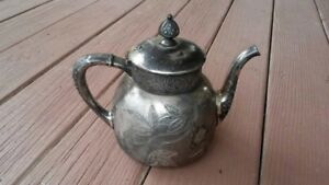 Antique Vintage Quadruple Silverplate Pairpoint Mfg Co Embossed Chased Teapot