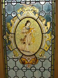 Antique French Stained Painted Leaded Glass Door