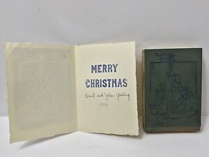 Vintage 50s Letterpress Wood Block Original Print Signed Christmas Card Gosling