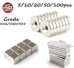 5 100pcs N52 n50 n35 Super Strong Countersunk Ring Magnets Neodymium Rare Earth