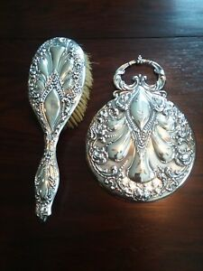 Victorian Sterling Silver Mirror And Hand Brush Repousse