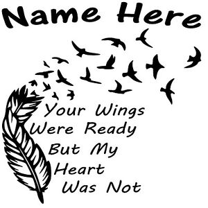 In Loving Memory Vinyl Decal Sticker Custom Wings Birds Fly Car Suv Home Window