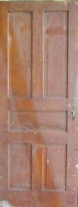 Vintage Solid Wood Door 5 Panel Architectural Salvage Door Lock
