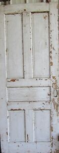 Vintage Solid Wood Door 5 Panel Architectural Salvage Pocket Door