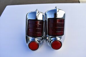 51 52 Chevy Passenger Car 2 Tail Lamp Light Assembly Red Glass Lens W Reflector