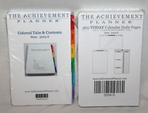 Achievement Planner Pages Colored Tabs Contents Calendar 365 Daily New Refills