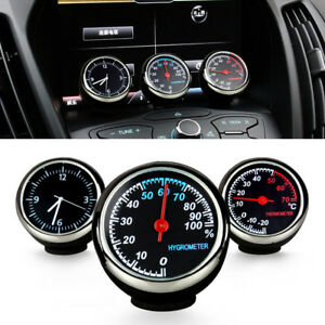 Car Digital Clock Autowatch Black Automotive Thermometer Hygrometer Decoration