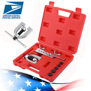 Double Flaring Brake Line Tool Kit Tubing Car Truck W Adapter Automotive Tool M