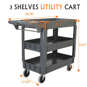 3 Shelves Plastic Utility Service Cart 550 Lb Capacity With 360 swiveling Wheels