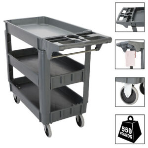 New 3 Tier Plastic Utility Service Cart 550 Pounds Capacity