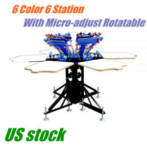 Us 6 Color Manual Screen Printing Press Machine T shirt Screen Print Equipment