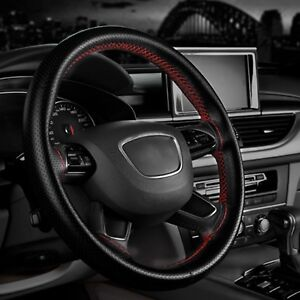 Black red Pu Leather Diy Car Steering Wheel Cover With Needles And Thread